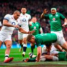 Dream start: Garry Ringrose touches down to get Ireland off to a flyer against England at Twickenham