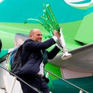 Rory Best brings the Championship trophy back to Dublin