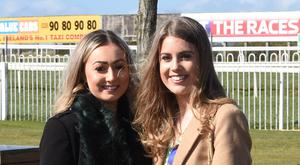 St Patrick's Day at Down Royal Racecourse, Maze, Lisburn. Ellen Somerville and Chloe Mack Picture by Andrew Paton/Press Eye