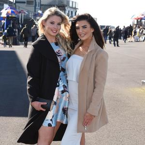 St Patrick's Day at Down Royal Racecourse, Maze, Lisburn. Shannon McGinley and Louise Bracken