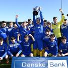 NI Schools Cup Football Final: St Columb's College V St Patrick's Grammar. St Columb's pictured after winning today's game at Seaview in Belfast. Picture By: Arthur Allison/Pacemaker Press
