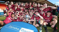 Press Eye - Belfast - Northern Ireland - 19th March 2018 Danske Bank Ulster School GAA finals at the Armagh Athletic Grounds. Dance Bank MacRory Cup - St. RonanÕs College, Lurgan v St MaryÕs(white), Grammar School, Magherafelt. St. RonanÕs College celebrate after winning the final. Picture by Jonathan Porter/PressEye
