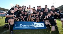 19th March 2017 - Picture by Matt Mackey / Press Eye. Danske Bank Schools' Cup Final: Royal School Armagh v Campbell College at the Kingspan Stadium, Belfast. Campbell College's John McKee celebrates with his team after winning the Danske Bank Schools' Cup