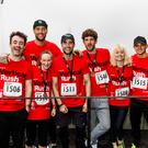 High hopes: from left, Joe McFadden, Calum Best, Margaret Dunn, Matt Johnson, Max Rodgers, Kimberly Wyatt and George Lineker after taking part in Vertical Rush