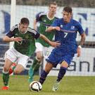 Very determined: Gavin Whyte, in action for Northern Ireland's U-21s, hopes he can catch the eye of a scout