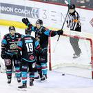 Press Eye - Belfast - Northern Ireland - 21st March 2018 - Photo by William Cherry/Presseye Belfast Giants Sebastien Sylvestre celebrates scoring against the MK Lightning's during Wednesday nights Elite Ice Hockey League game at the SSE Arena, Belfast.