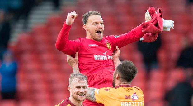 Top form: Trevor Carson has attracted the interest of Brendan Rodgers' Celtic this season after impressing for Motherwell