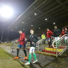 Press Eye - Belfast - Northern Ireland - 22nd March 2018 European U21 Championship 2019. Qualifying Round at Shamrock Park Portadown. Northern Ireland Vs Spain. The teams make their way on to the pitch. Northern Ireland's with Spain's Picture by Jonathan Porter/PressEye