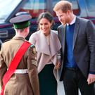 Prince Harry and Meghan Markle arrive for first Northern Ireland Royal visit. Photo credit: Brian Lawless/PA Wire