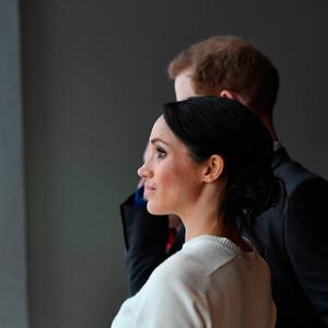Prince Harry and Meghan Markle during a visit to Titanic Belfast maritime museum in Belfast. PRESS ASSOCIATION Photo. Picture date: Friday March 23, 2018. See PA story ROYAL Harry. Photo credit should read: Joe Giddens/PA Wire