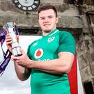 Prize guy: Jacob Stockdale shows off his Six Nations Player of the Championship trophy at Kingspan Stadium yesterday