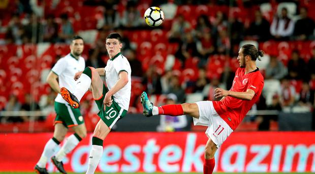 Impressive display: Declan Rice put in an assured performance for the Republic last night in Antalya despite the scoreline