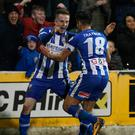 Goal-den boys: Scorers Aaron Burns and Josh Carson celebrate during the Bannsiders' big win last night