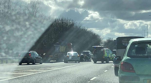 Emergency services deal with crash on M2. Pic Kevin Scott