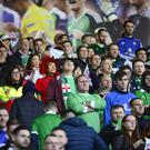 Northern Ireland fans pictured during todays game at the National Stadium Windsor Park in Belfast. Picture By: Arthur Allison/Pacemaker Press