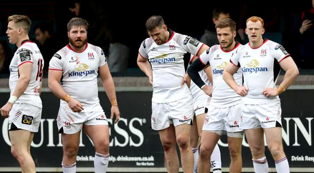 Ulster players dejected after Cardiff Blues defeat. Pic: INPHO/Billy Stickland