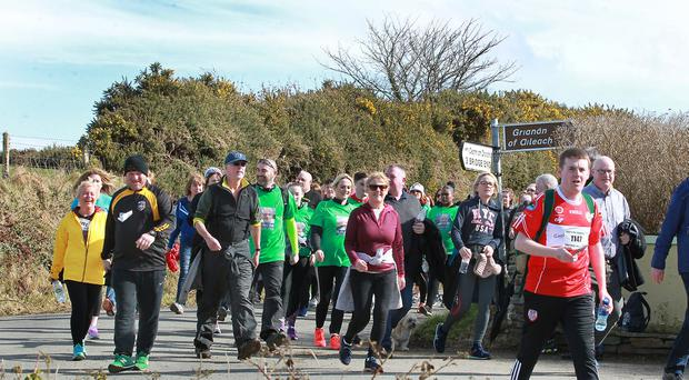 Taking part in the Chieftains Walk from Derry to Grianan Fort in Donegal on Sunday. The walk is a charity fundraiser in memory of Martin McGuinness for the North West Cancer Centre and to raise awareness of Amyloidosis. Picture Margaret McLaughlin 25-3-18