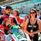 Team Laverty: Toomebridge rider Eugene Laverty, who suffered crash injuries yesterday, pictured with wife Pippa