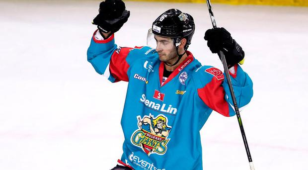 Ice cool: Spiro Goulakos got on the scoresheet last night at the SSE Arena as the Belfast Giants bounced back from defeat to beat Dundee Stars