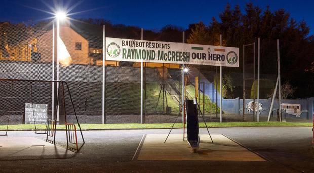 The 'hero' banner erected at the children's play park. Picture: Newraypics.com