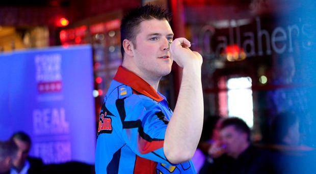 Taking aim: Daryl Gurney at sponsor's event in Belfast yesterday