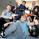 Pedal pushers: Brian Grzymek Department of Justice (left) and Councillor Tim Morrow, Lord Mayor of Lisburn & Castlereagh City Council, join Ciaran McShane, Jack Boyd and Craig Belshaw to celebrate their completion of the inaugural UGP Motorbike Awareness Project