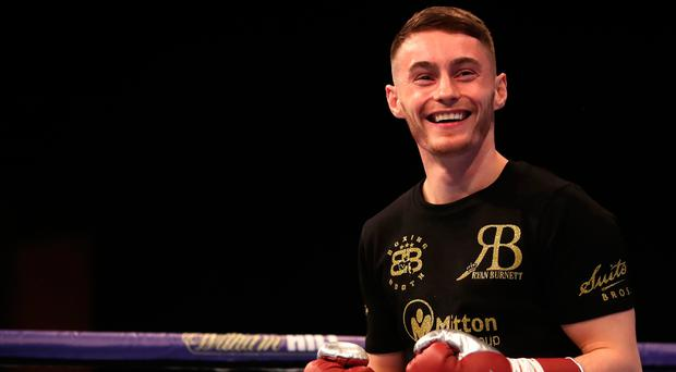 Ryan Burnett is all smiles during the media workout at St David's Hall, Cardiff.