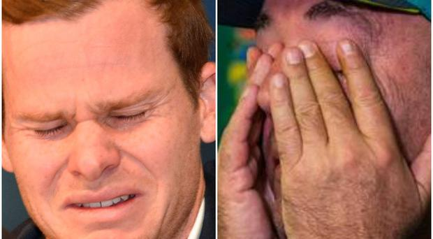 Former Australia captain Steve Smith (left) and coach Darren Lehmann (right) were both emotional in front of the media.