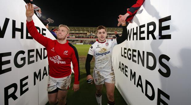 Stuart Olding and Paddy Jackson after an Ulster match