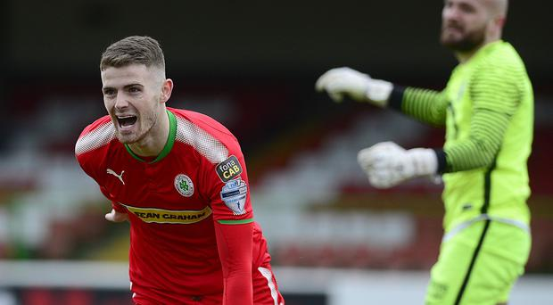 Cliftonville's Rory Donnelly pictured after scoring