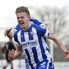Coleraine's Lyndon Kane celebrates after firing his side into a 1-0 lead.