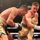 Ryan Burnett (right) in action against Yonfrez Parejo at the Principality Stadium.