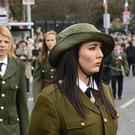 Pacemaker Press Belfast 01-04-2018: Republican marchers takes part in a parade in west Belfast on Sunday, organised by National Graves Association Belfast.