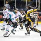 Frozen out: Belfast Giants' Colin Shields clashes with Raphael Bussieres of the Nottingham Panthers last night. The Panthers claimed a 8-7 play-off win on aggregate