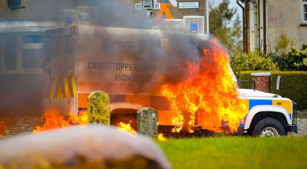 An un-notified Easter Commemoration parade takes place in the Creggan area of Derry on April 2nd 2018 (Photo by Kevin Scott / Belfast Telegraph)