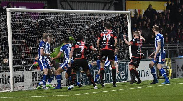 PACEMAKER BELFAST 03/04/2018 Crusaders v Coleraine Danske Bank Premiership Crusaders David Cushley scores to make it 1-1 during this evenings game at Seaview in Belfast. Photo Colm Lenaghan/Pacemaker Press