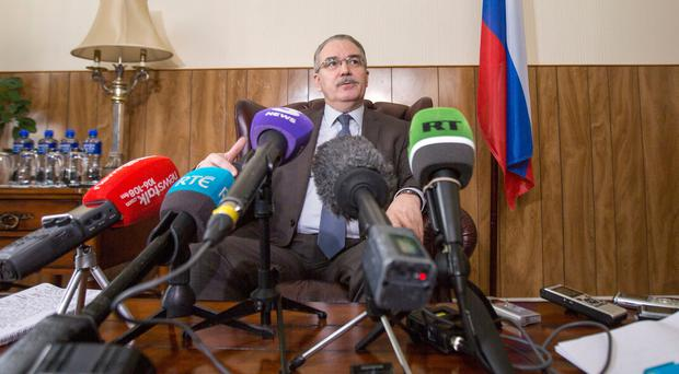 The Russian ambassador to Ireland, Yury Filatov, at a media briefing yesterday