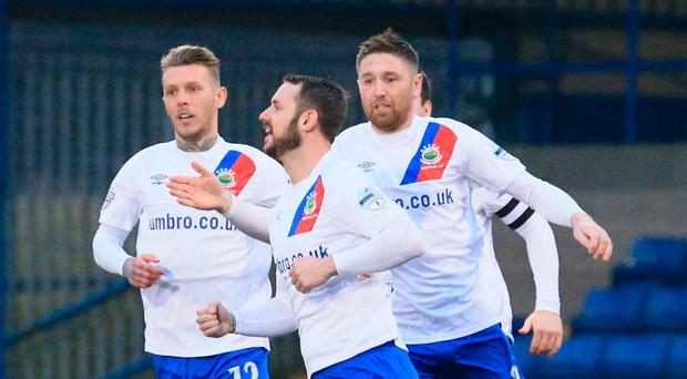 Get in: Linfield's Kurtis Byrne celebrates his goal last night