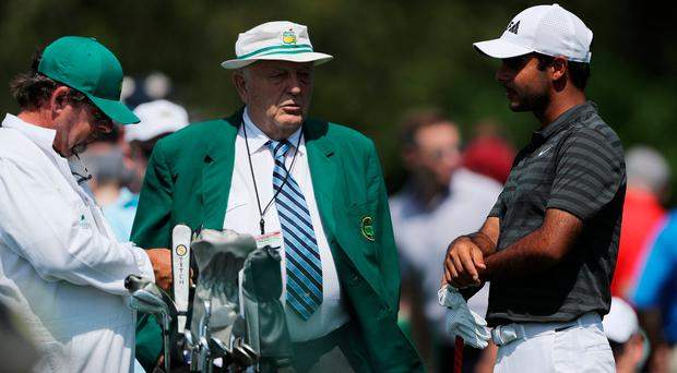AUGUSTA, GA - APRIL 03: Shubhankar Sharma of India talks to Sir Ronald Hampel during a practice round prior to the start of the 2018 Masters Tournament at Augusta National Golf Club on April 3, 2018 in Augusta, Georgia. (Photo by David Cannon/Getty Images)