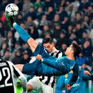 Wonder strike: Cristiano Ronaldo lets fly with a sublime overhead kick against Juventus