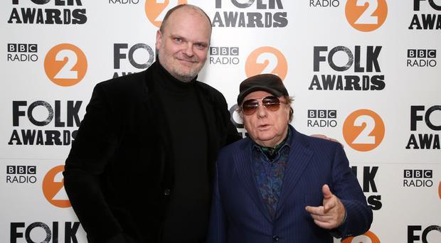 Ralph McLean and Van Morrison at the Radio 2 Folk Awards 2018 at the Belfast Waterfront on Wednesday night. Morrison was at the awards to present musician Dónal Lunny with the Lifetime Achievement Award ©Press Eye/Darren Kidd