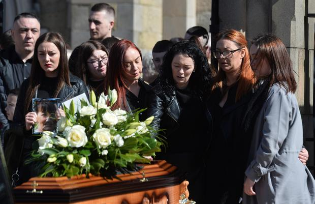 The funeral of Ann McKernan takes place at St Peter's Cathedral, Belfast, on April 5, 2018. Ann was a sister of Gerry Conlon, who was one of the people wrongly convicted for the 1974 Guildford pub bombings.