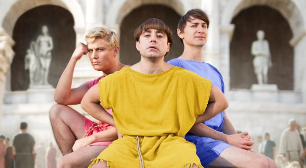 When in Rome: (from left) Jonathan Pointing, Ryan Sampson and Tom Rosenthal