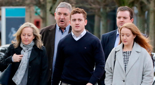 Paddy Jackson with his family near the Laganside courts