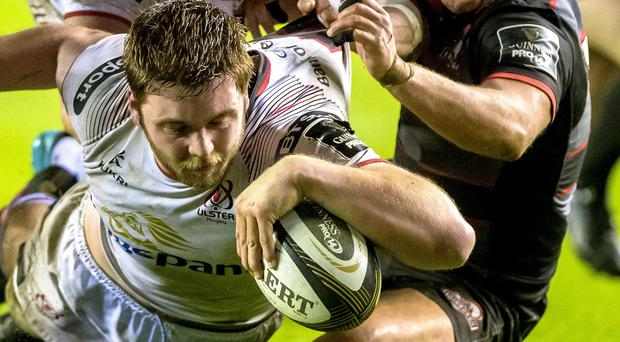 Late drama: Ulster's Iain Henderson scores winning try in Edinburgh last night