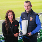 Top man: Oran Kearney gets his Manager of Month award by Portia Long of BetMcLean