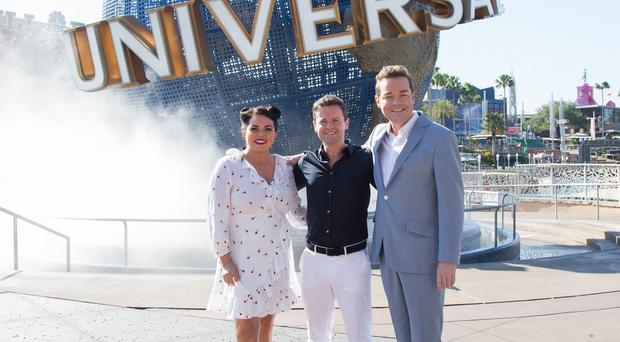 Pictured: Dec, Scarlett Moffatt and Stephen Mulhern in Universal Resort Florida. ITV
