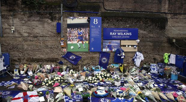 Tributes were left to Ray Wilkins outside Stamford Bridge