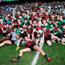 Winning ways: Ecstatic St Ronan's College, Lurgan players celebrate in style following their historic Hogan Cup triumph at Croke Park