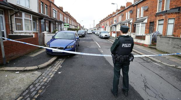 The scene at Titania Street, off the Cregagh Road in East Belfast following the death of a 29-year-old man. Photo by Kelvin Boyes / Press Eye